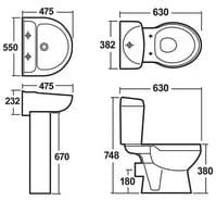 Melbourne Pivot En-Suite Bathroom Pack with 800mm Pivot Shower Door